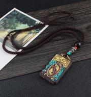 Ethnic Style Hand-Made Thangka Ebony Pendant