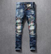 Men's Jeans Nostalgic Dark Blue Ashed Paint