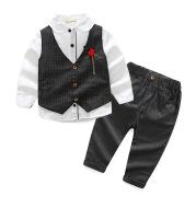 New European And American Handsome Fashion Boy Cotton Vest Suit Pants Three-Piece Suit