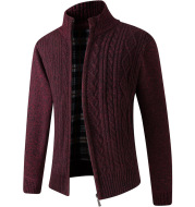 Autumn And Winter Middle-aged Men Plus Velvet Thick Knit Sweater Cardigan Sweater Father Wear Warm Jacket