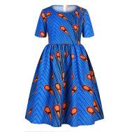 Amazon Hot Sale Digital Print Girls Zipper Short-Sleeved Dress African Children's Princess Dress