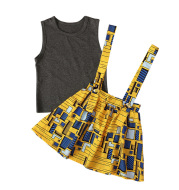 Girls Summer European and American Style Sleeveless Vest Top African Bohemian Style Strap Dress Two-piece Set