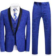 High-end Suit Jacquard Navy Blue Green Fruit Collar Men's Suit Three-piece Banquet Groom Dress