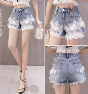 Spring And Summer New Sweet High-Waisted Loose And Thin Raw-Edge Wide-Leg Pants Women