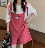 Real Photo 2021 Summer New Age Reducing Strap Pants Show Thin Loose Wide Leg Denim One Piece Shorts