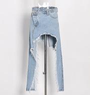 Women's Mid-length Irregular Split Frayed Denim Skirt