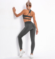 Hot Selling Sexy Striped Pocket Yoga Suits In Europe And America Women's Beauty Back Top Bra Sports Running Fitness Yoga Pants