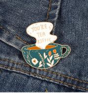 Carved teacup coffee cup art badge high-end