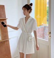 Suit Collar Purple Jumpsuit Summer New Korean Style High Waist Casual Pants Women Loose Straight Wide Leg Shorts