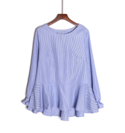 Long Sleeve Round Neck Vertical Striped Shirt Top