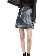 Printed Skirt Womens High Waist Slimming Package Hip Skirt A Line Skirt
