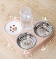 Dog Bowl Double Bowl Automatic Drinking Dog Food Bowl Rice Bowl
