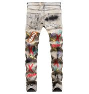 Men's Tie and Dye Letters 3D Printed Jeans Fashion Holes Ripped Stretch Denim Pants Slim Straight Trousers