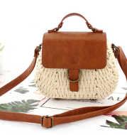 New Retro Straw Woven Bag Yuandou Messenger Beach Bag Casual Woven Female Bag