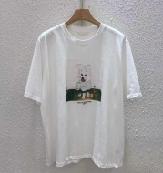 Korean Style Loose Female Printed Cotton White Short-Sleeved T-shirt Top
