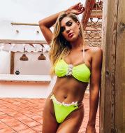 Women Amazon Split Swimsuit Lace Swimsuit Bikini
