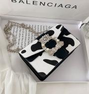 Milk Pattern Western Fashion Chain One-Shoulder Diagonal Small Square Bag