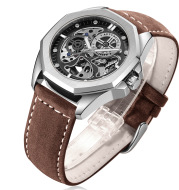 New Hollow Automatic Mens Leather Belt Waterproof Mechanical Watch