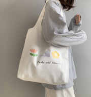 Vest Canvas Bag Japanese And Korean Flower Women's Shoulder Bag Small Fresh Literature And Art Student Bag Women's Canvas Thick