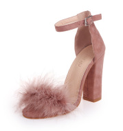 Aliexpress Hot Style 2017 New Open-Toed Shallow Mouth Large Size Women'S Single Shoes Rabbit Fur Buckle High-Heeled Sandals