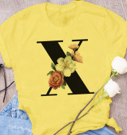 European and American Explosive 26 Letter Printing Simple Short Sleeve T-shirt