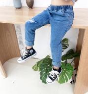 Boys Ripped Jeans Raw Edge Stretch Denim Trousers