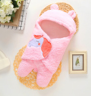 Infant Baby Soft  Winter Style Plush Swaddle Cartoon Quilt Blanket And Feet Gown