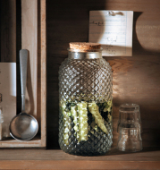 European Style Embossed Wooden Cork Glass Airtight Jar