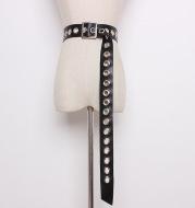 Versatile Ring Extra Long Belt Female Black Wide Metal Eyelet Female Belt Decorated Dress Trousers
