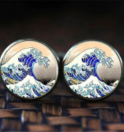 Kanagawa Time Gemstone Cufflinks French Shirt Men's Fashion Glass Cufflinks