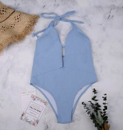 Light Blue Solid Color Swimsuit lace One-piece Swimsuit Sexy