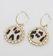 Drop-Shaped Double-Sided Pu Leather Earrings Leopard Leather Earrings