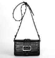 Rivet Leather Buckle Small Square Bag Embossed Genuine Leather Handbag
