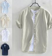 Oversized Short-Sleeved Cotton Beach Shirt
