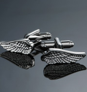 Copper Material Carved Pattern Silver Wings Cufflinks