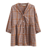 Large V-neck Plaid Shirt Spring Loose Casual Half Seeve Top