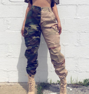 High Waist Camouflage Splicing Pants Female Contrast Color