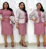 African Fashion Lady Set Jacket And Dress Fat Woman Big Skirt 4Xl