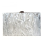 New Ladies Pure Color Pearlescent Acrylic Clutch