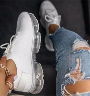 Air Cushion Bottom Lace up Casual Shoes Flying Woven Women s Shoes