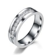 Simple Car Line Men s Titanium Steel Ring Zircon Couple Ring