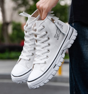 Breathable High-Top Casual Men's Canvas Shoes