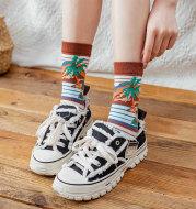 Socks Female Tube Socks Black and White Cartoon