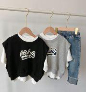 Kids Waistcoat Short Sleeve T-Shirt Two Piece Summer New 2021 Boys