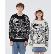 Retro Cartoon Trend Sweater Male Couple Tide Brand Personality Sweater Coat