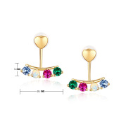 9K Gold Inlaid Red And Blue Color Treasure Earrings Girl Earrings