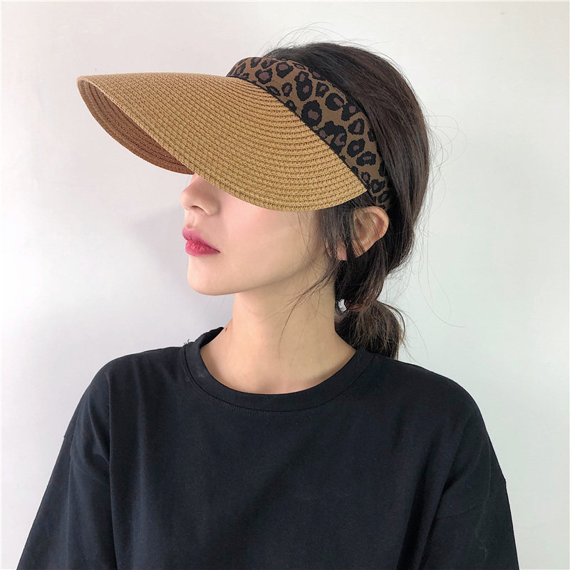 Leopard Straw Sun Visor Hat