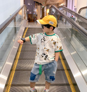 Children's Clothing Boy Suit Summer Clothing 2021 New Fried Street Short-Sleeved Western Style Baby Summer Korean Style Handsome Trendy Boy