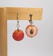 Quinta Original Soft Pottery Hand-made Litchi 925 Silver Earrings Asymmetric Summer Fruit Earrings