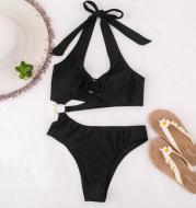 Women's Solid Color Bandage Split Swimsuit Sexy Bikini